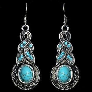 Jewelry - Trendy Synthetic Turquoise Long Earrings